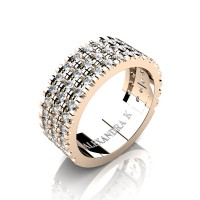 Mens 14K Rose Gold Micro V Pave Diamond Modern French Wedding Ring A1003-14KRGD