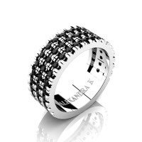 Mens 14K White Gold Micro V Pave Black Diamond Modern French Wedding Ring A1003-14KWGBD