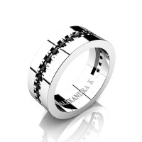 Mens 14K White Gold Channel Pave Black Diamond Modern French Wedding Ring A1001-14KWGBD
