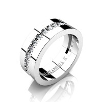 Mens 14K White Gold Channel Pave Diamond Modern French Wedding Ring A1001-14KWGD