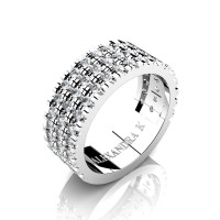 Mens 14K White Gold Micro V Pave Diamond Modern French Wedding Ring A1003-14KWGD