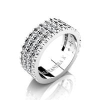 Mens 14K White Gold Micro V Pave Diamond Modern French Wedding Ring A1003-14KWGD