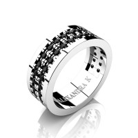 Mens 14K White Gold Double Row Scallop Pave Black Diamond Modern French Wedding Ring A1002-14KWGBD