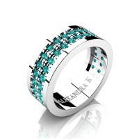 Mens 14K White Gold Double Row Scallop Pave Blue Diamond Modern French Wedding Ring A1002-14KWGBLD