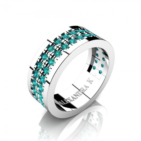 Alexandra-K-Modern-French-14K-White-Gold-Double-Row-Scallop-Pave-Blue-Diamond-Wedding-Ring-A1002-14KWGBLD-P
