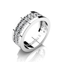 Mens 14K White Gold Double Row Scallop Pave Diamond Modern French Wedding Ring A1002-14KWGD