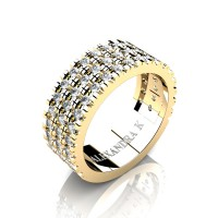 Mens 14K Yellow Gold Micro V Pave Diamond Modern French Wedding Ring A1003-14KYGD