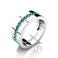 Mens 950 Platinum Channel Pave Blue Diamond Modern French Wedding Ring A1001-PLATBLD