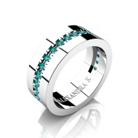 Mens 14K White Gold Channel Pave Blue Diamond Modern French Wedding Ring A1001-14KWGBLD