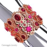 Caravaggio Renaissance 14K Rose GoldGarnet Pink Sapphire Bangle Bracelet B1000-14KRGWSPSG