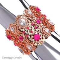 Caravaggio Renaissance 14K Rose Gold White and Pink Sapphire Bangle Bracelet B1000-14KRGWSSPS