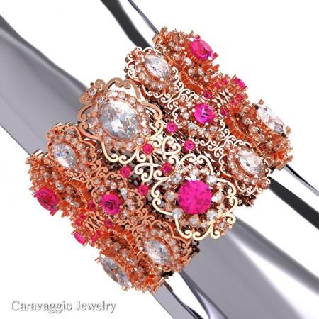 Caravaggio-14K-Rose-Gold-Pink-Sapphire-White-Sapphire-Bangle-Bracelet-B1000-14KRGPSWSS-P