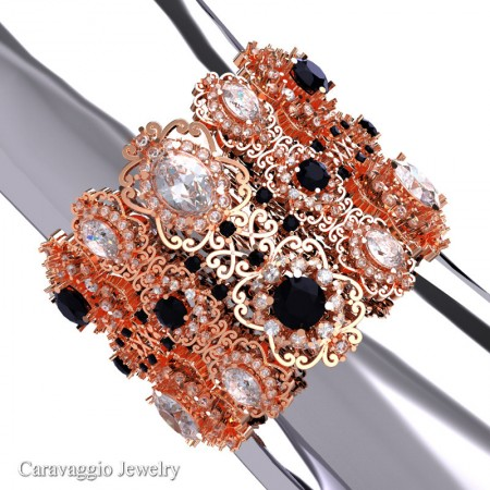Caravaggio-14K-Rose-Gold-White-Sapphire-Black-Diamond-Bangle-Bracelet-B1000-14KRGBDWSS-P