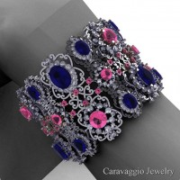 Caravaggio Renaissance 14K White Gold Blue Light Pink and White Sapphire Bangle Bracelet B1000-14KWGWSLPSBS