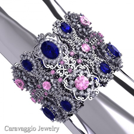 Caravaggio-14K-White-Gold-Blue-Light-Pink-and-White-Sapphire-Bangle-Bracelet-B1000-14KWGWSLPSBS-P2