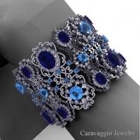 Caravaggio Renaissance 14K White Gold Blue Sapphire Blue Topaz White Sapphire Bangle Bracelet B1000-14KWGWSBTBS