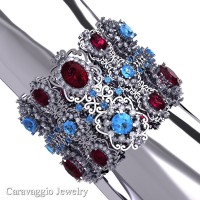 Caravaggio Renaissance 14K White Gold Garnet Blue Topaz White Sapphire Bangle Bracelet B1000-14KWGWSBTG