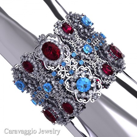 Caravaggio-14K-White-Gold-Garnet-Blue-Topaz-Diamond-Bangle-Bracelet-B1000-14KWGDBTG-P-4