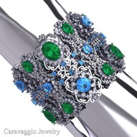 Caravaggio Renaissance 14K White Gold Emerald Blue Topaz White Sapphire Bangle Bracelet B1000-14KWGWSBTEM