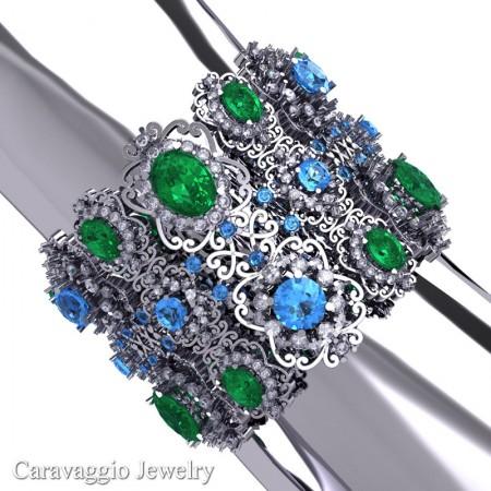 Caravaggio-14K-White-Gold-Garnet-Emerald-Blue-Topaz-White-Sapphire-Bangle-Bracelet-B1000-14KWGWSBTEM-3