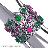 Caravaggio Renaissance 14K White Gold Emerald Pink and White Sapphire Bangle Bracelet B1000-14KWGWSPSEM