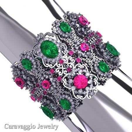 Caravaggio-14K-White-Gold-Garnet-Emerald-Pink-Sapphire-White-Sapphire-Bangle-Bracelet-B1000-14KWGWSPSEM-2