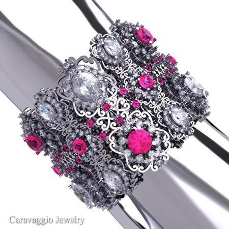 Caravaggio-14K-White-Gold-Garnet-Pink-Sapphire-White-Sapphire-Bangle-Bracelet-B1000-14KWGPSWSS-P