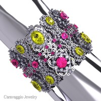 Caravaggio Renaissance 14K White Gold Yellow Pink and White Sapphire Bangle Bracelet B1000-14KWGWSPSYS
