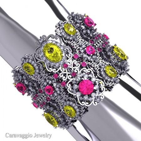 Caravaggio-14K-White-Gold-Garnet-Yellow-Pink-White-Sapphire-Bangle-Bracelet-B1000-14KWGWSPSYS-P