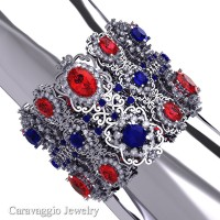Caravaggio Renaissance 14K White Gold Ruby Blue and White Sapphire Bangle Bracelet B1000-14KWGWSBSR