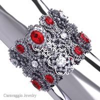 Caravaggio Renaissance 14K White Gold Ruby White Sapphire Bangle Bracelet B1000-14KWGWSR