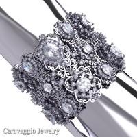 Caravaggio Renaissance 14K White Gold White Sapphire Bangle Bracelet B1000-14KWGWS