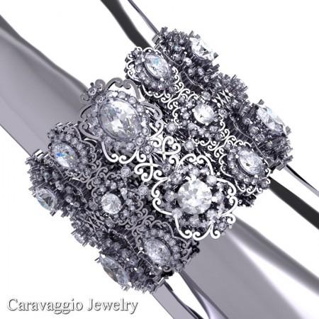 Caravaggio-14K-White-Gold-White-Sapphire-Bangle-Bracelet-B1000-14KWGWS-P6