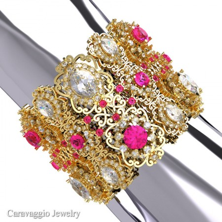 Caravaggio-14K-Yellow-Gold-Garnet-Pink-Sapphire-White-Sapphire-Bangle-Bracelet-B1000-14KYGPSWSS-P