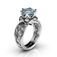 Classic 950 Platinum 3.0 Ct Aquamarine Diamond Collar Double Knot Solitaire Ring R450-PLATDAQ