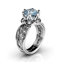 Classic 950 Platinum 3.0 Ct Aquamarine Diamond Collar Double Knot Solitaire Ring R451-PLATDAQ