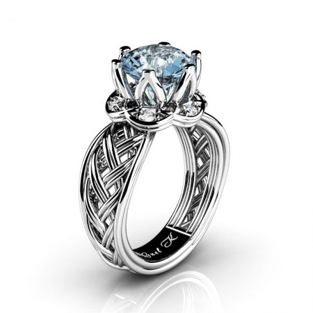 Classic-950-Platinum-3-Ct-Aquamarine-Marquise-Diamond-Collar-Double-Knot-Solitaire-Ring-R451-PLATDAQ-P