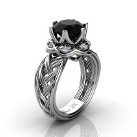 Classic 950 Platinum 3.0 Ct Black and White Diamond Collar Double Knot Solitaire Ring R450-PLATDBD