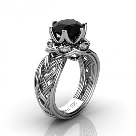 Classic-950-Platinum-3-Ct-Black-Diamond-Marquise-Diamond-Collar-Double-Knot-Solitaire-Ring-R450-PLATDBD-P