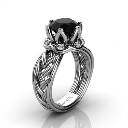 Classic-950-Platinum-3-Ct-Black-and-White-Diamond-Collar-Double-Knot-Solitaire-Ring-R451-PLATDBD-P