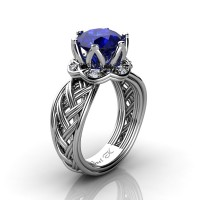 Classic 950 Platinum 3.0 Ct Blue Sapphire Diamond Collar Double Knot Solitaire Ring R451-PLATDBS