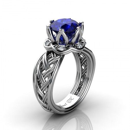 Classic-950-Platinum-3-Ct-Blue-Sapphire-Diamond-Collar-Double-Knot-Solitaire-Ring-R451-PLATDBS-P