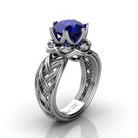 Classic 950 Platinum 3.0 Ct Blue Sapphire Diamond Collar Double Knot Solitaire Ring R450-PLATDBS