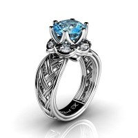 Classic 950 Platinum 3.0 Ct Blue Topaz Diamond Collar Double Knot Solitaire Ring R450-PLATDBT