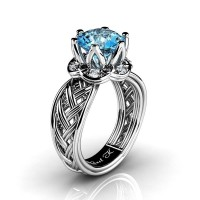 Classic 950 Platinum 3.0 Ct Blue Topaz Diamond Collar Double Knot Solitaire Ring R451-PLATDBT