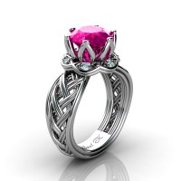 Classic 950 Platinum 3.0 Ct Pink Sapphire Diamond Collar Double Knot Solitaire Ring R451-PLATDPS