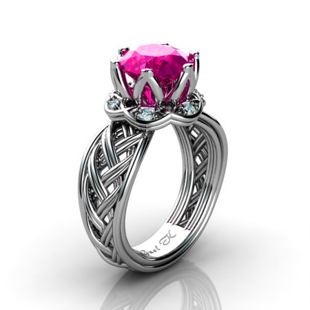 Classic-950-Platinum-3-Ct-Pink-Sapphire-Diamond-Collar-Double-Knot-Solitaire-Ring-R451-PLATDPS-P