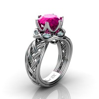 Classic 950 Platinum 3.0 Ct Pink Sapphire Diamond Collar Double Knot Solitaire Ring R450-PLATDPS