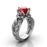 Classic 950 Platinum 3.0 Ct Ruby Diamond Collar Double Knot Solitaire Ring R451-PLATDR