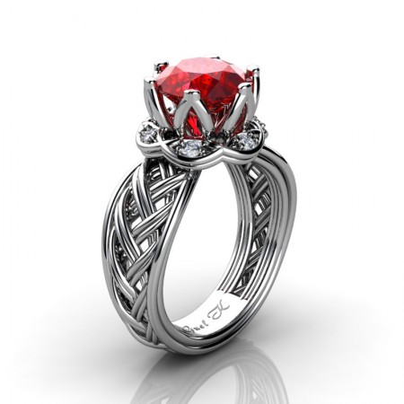 Classic-950-Platinum-3-Ct-Ruby-Diamond-Collar-Double-Knot-Solitaire-Ring-R451-PLATDR-P